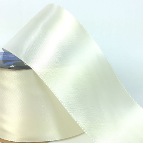 2.7m Roll 57mm Single Faced Satin Ribbon Cream