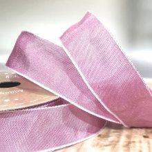25mm Taffeta Ribbon Rose Pink - wired edge
