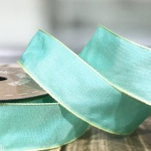 25mm Taffeta Ribbon Soft Mint - wired edge - 20m
