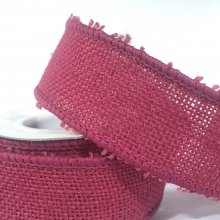 38mm Burlap Hessian Ribbon Fuchsia with wired edge
