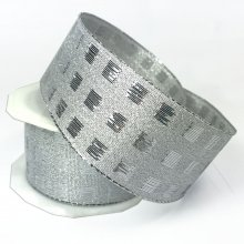 38mm Wide Checks Ribbon Silver