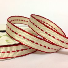 10mm Centre Stitch Ribbon Cream