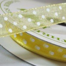 10mm Organza Ribbon Baby Maize / White Dots