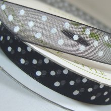 10mm Organza Ribbon Black / White Dots