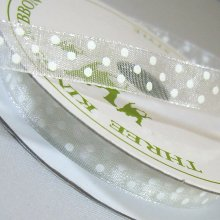 10mm Organza Ribbon Bridal White / White Dots