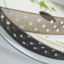 10mm Organza Ribbon Chocolate / White Dots