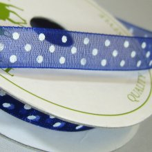 10mm Organza Ribbon Deep Blue / White Dots