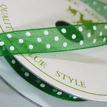 10mm Organza Ribbon Holiday Green / White Dots