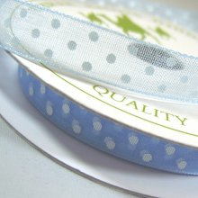 10mm Organza Ribbon Light Blue / White Dots