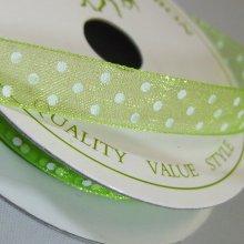 10mm Organza Ribbon Lime / White Dots