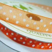 10mm Organza Ribbon Pumpkin / White Dots