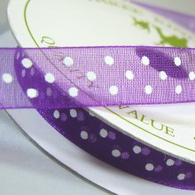 10mm Organza Ribbon Purple / White Dots