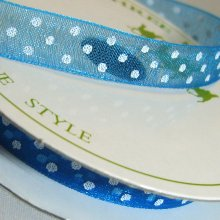 10mm Organza Ribbon Turquoise / White Dots