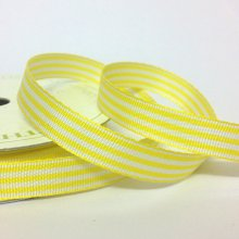 10mm Pastel Candy Stripe Ribbon Yellow