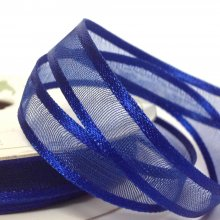 10mm Satin Edge Organza Ribbon Deep Blue