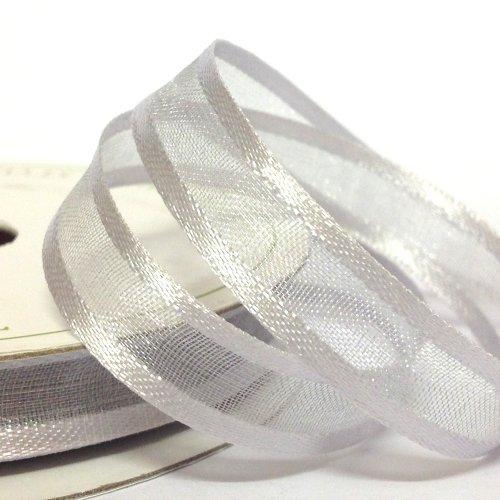 22mm White Silver Satin Edged Organza Ribbon