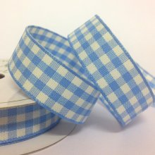 15mm Cottage Check Iris Blue Ribbon