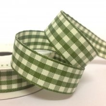 15mm Cottage Check Moss Ribbon