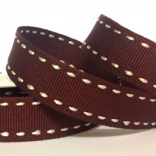 15mm Side Stitch Ribbon Chocolate