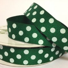 15mm Twill Dot Ribbon Green