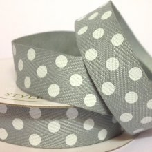 15mm Twill Dot Ribbon Grey