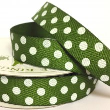 15mm Twill Dot Ribbon Moss