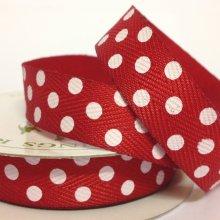 15mm Twill Dot Ribbon Red - 20m