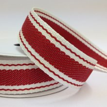 22mm Twill Ribbon Stripe Red