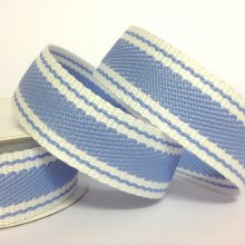 22mm Twill Stripe Ribbon Light Blue
