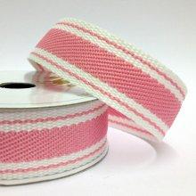 22mm Twill Stripe Ribbon Pink Delight
