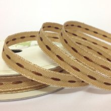 6mm Centre Stitch Ribbon Brown