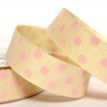15mm Twill Dot Ribbon Cream / Light Pink Dots