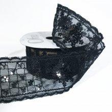 38mm Sequin Flower Ribbon Black