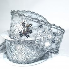 38mm Sequin Flower Ribbon Silver
